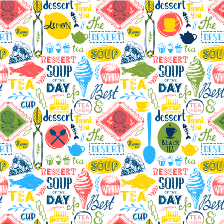 seamless: Menu pattern. Vector Illustration with funny food lettering and labels on white background. Decorative elements for your packing design. Multicolor.