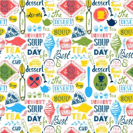 logo de comida: patr�n de men�. Ilustraci�n del vector con las letras comida divertida y etiquetas sobre fondo blanco. Elementos decorativos para el dise�o de su embalaje. Multicolor. Vectores