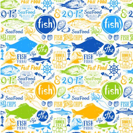 Menu patroon. Vectorillustratie met grappige zeevruchten letters en labels op een witte achtergrond. Decoratieve elementen voor uw verpakking ontwerp. Veelkleurig.