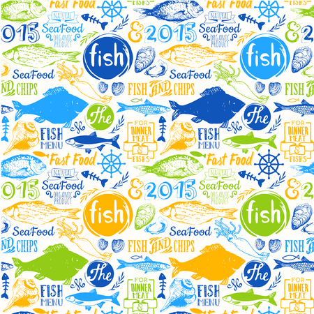 Menu pattern. Vector Illustration with funny seafood lettering and labels on white background. Decorative elements for your packing design. Multicolor. Ilustração