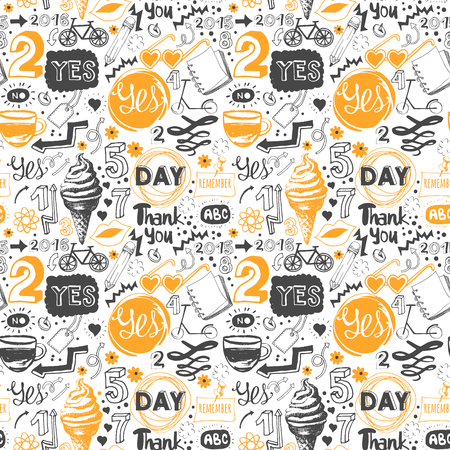 Menu patroon. Vector Illustratie met grappig voedsel belettering en etiketten op een witte achtergrond. Decoratieve elementen voor uw verpakking ontwerp. Veelkleurig.