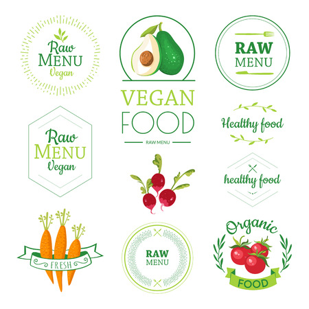 Raw food diet. Healthy lifestyle and proper nutrition. Vector vegetables.  イラスト・ベクター素材