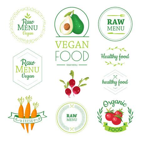 Dieta di cibi crudi. Stile di vita sano e una corretta alimentazione. Vector verdure. Archivio Fotografico - 48708283