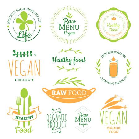 logos restaurantes: Dieta de alimentos crudos. Estilo de vida saludable y una nutrici�n adecuada. Vector de la etiqueta. Logo de desintoxicaci�n.