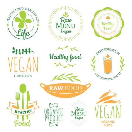 leaf logo: Raw food diet. Healthy lifestyle and proper nutrition. Vector label. Detox logo. Illustration
