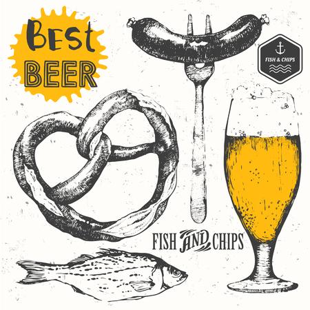 beer drinking: Oktoberfest set. Vector illustration with beer set.