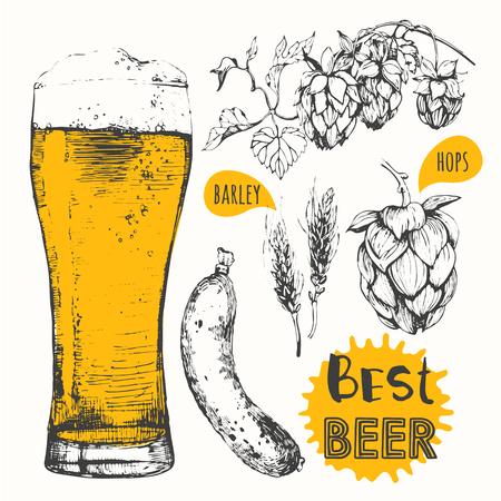 lijntekening: Oktoberfest set. Bier set. Grondstof voor het brouwen: tak van hop en oren van gerst.