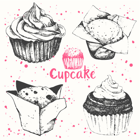 cupcakes isolated: Vector illustration with sketch baking.