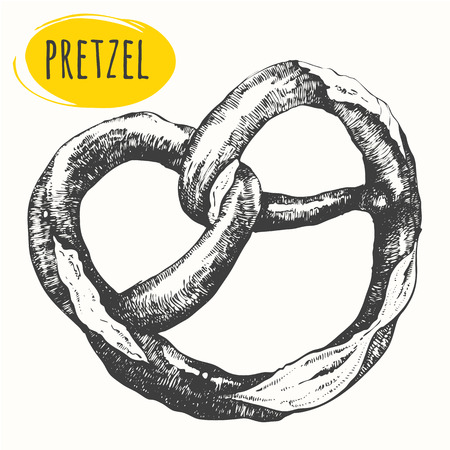 comida alemana: Vector illustration with the sketch pretzel. Pub menu. German food.