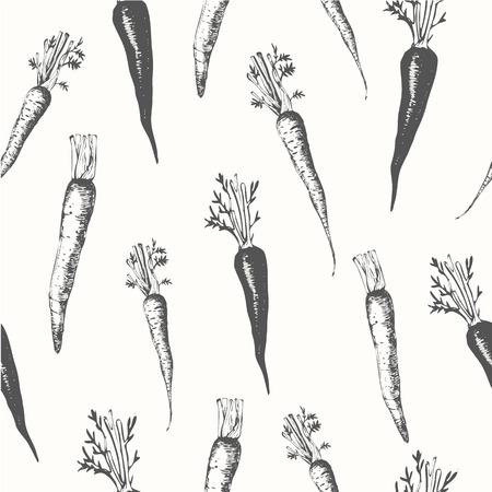 marchewka: Świeża żywność organiczna. Marchew tła. Czarny i biały. Ilustracja
