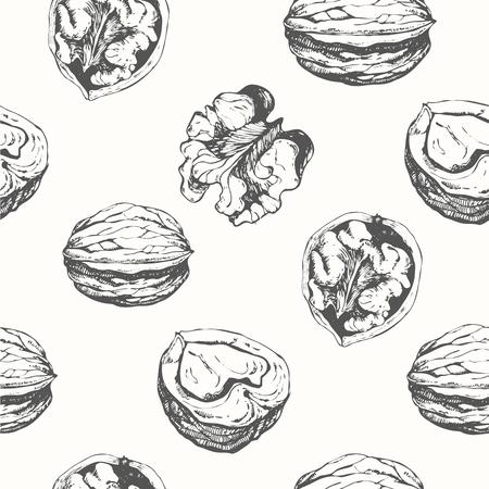 新鮮な有機食品。クルミの背景。黒と白のナットのパターン。
