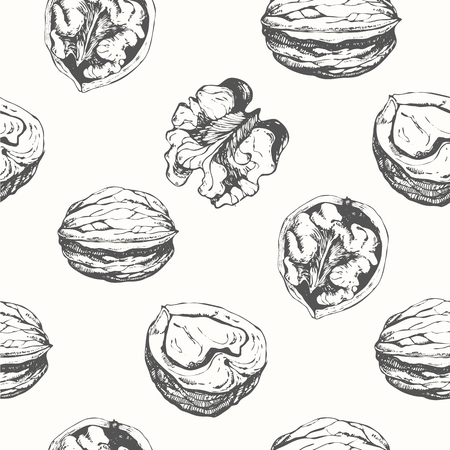 Fresh organic food. Walnuts background. Black and white nut pattern.