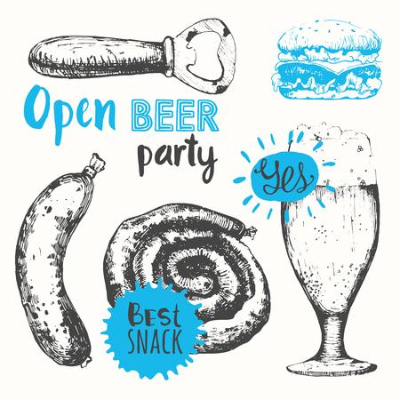 illustration line art: Oktoberfest set. Vector illustration of beer set. Pub menu. Black and blue. Sketch design.