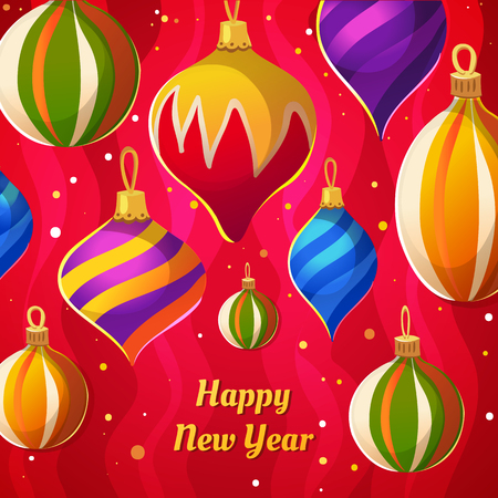 tree design: Vector illustration with Christmas Festive pattern. Happy new year poster.