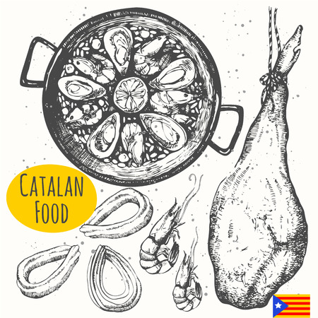Vector illustration of ethnic cooking: churros, paella, jamon. Main course, snacks and dessert. Ilustracja