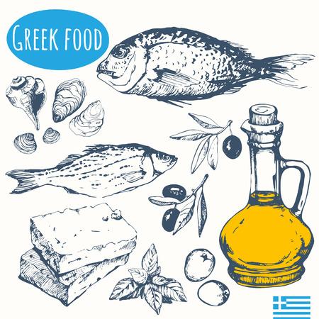 Vector illustratie van etnische koken: zeevruchten, olijven, kaas. Hoofdgerecht en snacks. Stock Illustratie