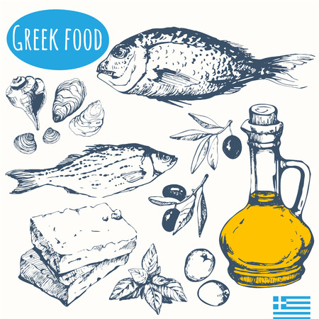 main course: Vector illustration of ethnic cooking: seafood, olives, cheese. Main course and snacks.