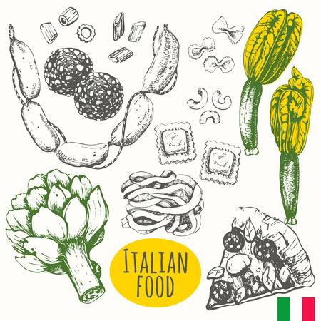 Vector illustration of ethnic cooking: pizza, artichoke, zucchini flowers, pasta, ravioli, salami.  Main course and snacks.