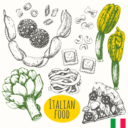 main course: Vector illustration of ethnic cooking: pizza, artichoke, zucchini flowers, pasta, ravioli, salami.  Main course and snacks.