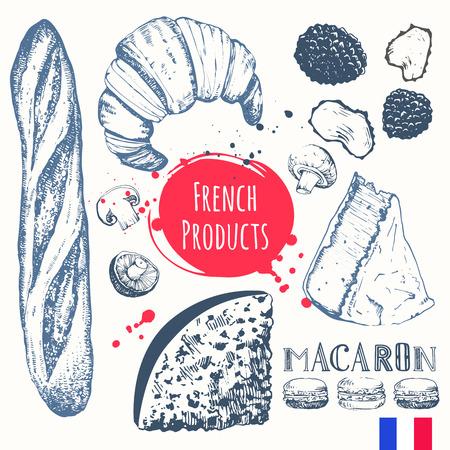 frances: Ilustración del vector de cocina étnica: cruasanes, queso brie, baguette, trufas. Plato principal, aperitivos y postres.