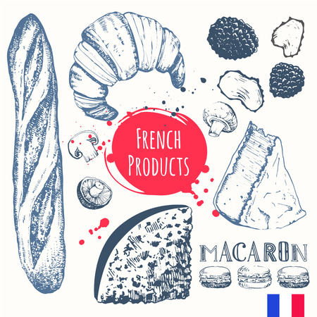french: Vector illustration of ethnic cooking: croissants, brie cheese, baguette, truffles. Main course, snacks and dessert.