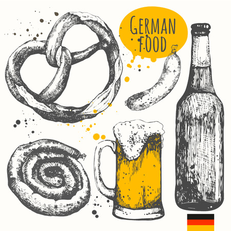 Vector illustration of ethnic cooking: beer, pretzels, sausages. Main course and snacks. Vectores