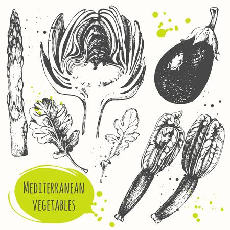 mediterranean food: Fresh organic food. Vector illustration with sketch of mediterranean vegetable. Black and white sketch of food.
