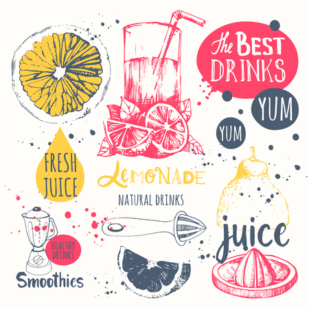 yellow to drink: Vector funny illustration with lemonade, drinks and kitchen equipment. Detox.