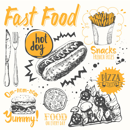 hot: Funny labels of street food: pizza, snacks, sandwiches and hot dog. Illustration