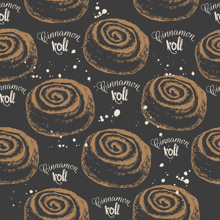 Vector illustration with sketch cinnamon roll. Hand-drawn pattern on black background.
