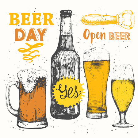 beer bottle: Bottle and glass of beer in sketch style. Vector illustration of with alcoholic beverages. Oktoberfest set.