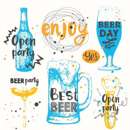 bebidas alcoh�licas: De botella y un vaso de cerveza en el estilo de dibujo. Ilustraci�n del vector de las bebidas alcoh�licas. conjunto de Oktoberfest. etiquetas de cerveza.