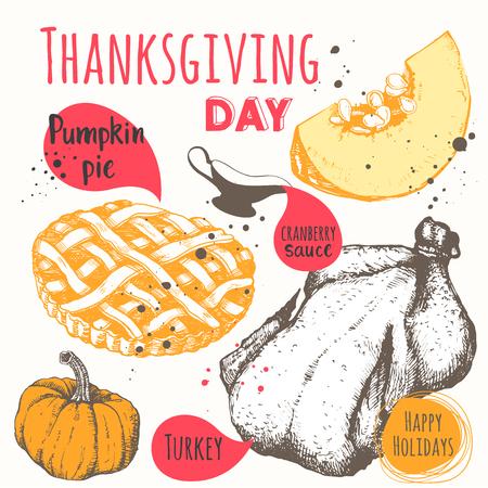 pumpkin pie: Roast turkey, cranberry sauce and pumpkin pie. Happy holidays.