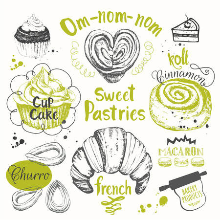 Set of hand drawn cake, churros, croissants, muffins.  Fresh organic food. Cafe menu.