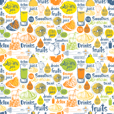 kitchen equipment: Drinks in sketch style. Vector funny illustration with lemonade, drinks and kitchen equipment. Detox pattern.