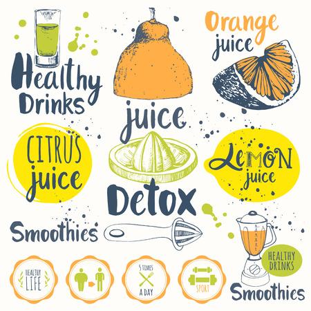 batidos de frutas: Vector ilustración divertido con limonada, bebidas y equipo de cocina. Detox.