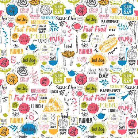 Menu patroon. Vector Illustratie met grappig voedsel letters en etiketten op een witte achtergrond. Decoratieve elementen voor uw verpakking ontwerp. Multicolor decor.