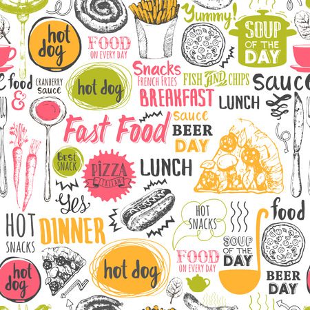 food: Teste padrão do menu. Ilustração do vetor com a rotulação de alimentos engraçado e etiquetas no fundo branco. Elementos decorativos para seu projeto de embalagem. decoração multicolor.