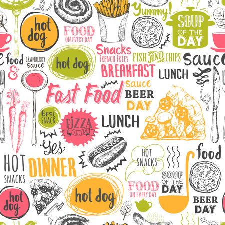 comida: Teste padr�o do menu. Ilustra��o do vetor com a rotula��o de alimentos engra�ado e etiquetas no fundo branco. Elementos decorativos para seu projeto de embalagem. decora��o multicolor.