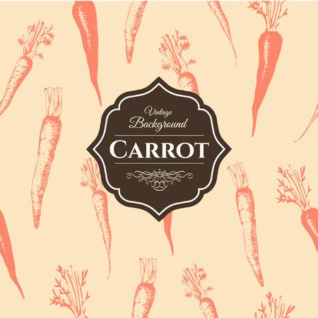 marchewka: Świeża żywność organiczna. Marchew tła. Zabytkowy styl. Pomarańczowy wzór.