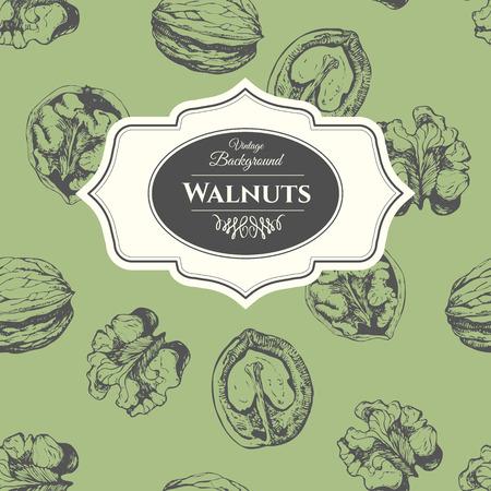 Fresh organic food. Vintage walnuts background. Black and white nut pattern.