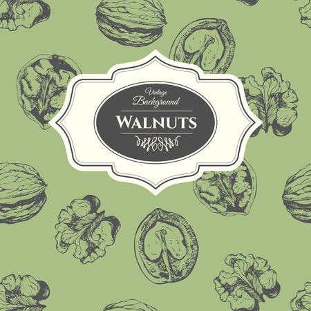 walnut: Fresh organic food. Vintage walnuts background. Black and white nut pattern.