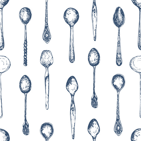 grunge cutlery: Spoons pattern. Black and white style. Vintage.