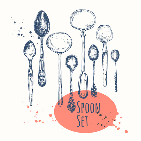 grunge cutlery: Vector illustration with sketch vintage spoons of different shapes.