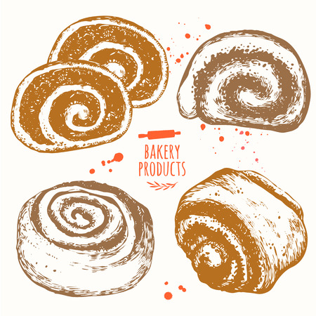 bakery products: Vector illustration with sketch bakery products. Roll with poppy seeds and cinnamon roll.