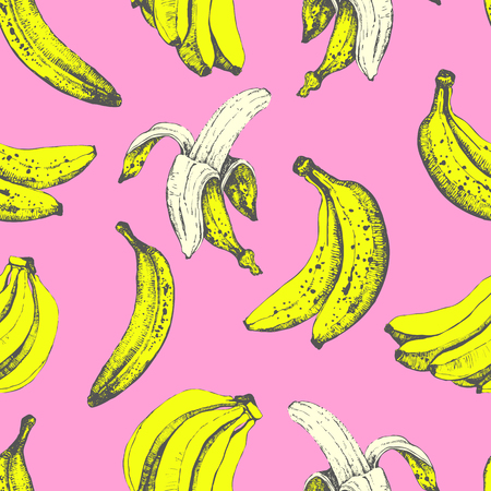 organic background: Fresh organic food.  Banana yellow background. Sketch style.