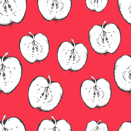 organic background: Fresh organic food. Apple pattern on red background. Illustration