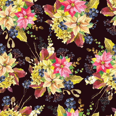 berry: Natural pattern on a black background. Festive Christmas background with watercolor realistic flowers: hydrangea, poinsettia and wild berries. Stock Photo