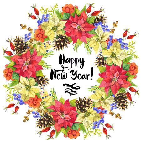 flor de pascua: ramo hermoso de la Navidad y el titular con flores de invierno y plantas sobre fondo blanco. Composición con bayas, poinsettia, acebo, perro-rosa y piña. Marco floral.