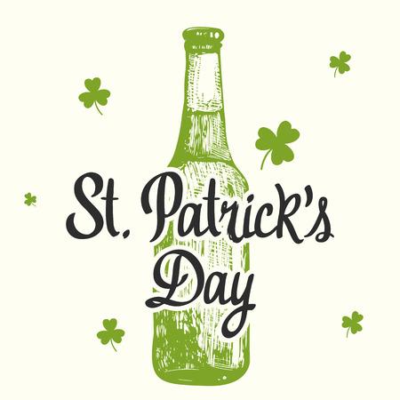 irish pub label design: illustration with beer bottle and congratulations.  Drink menu for celebration.